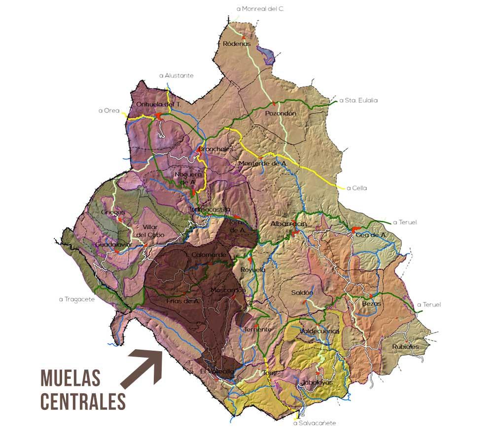 Plano de la Zona Muelas Centrales en el parque Micologico Sierra de Albarracin