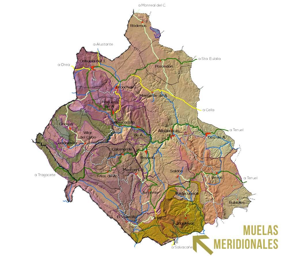 Plano de la Zona Muelas Meridionales en la Sierra de Albarracin