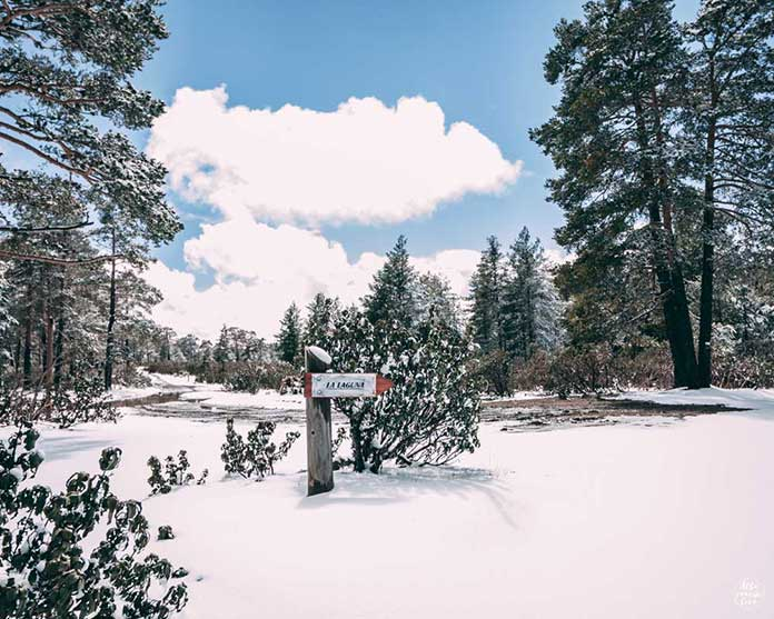 Fotografía del Cartel de acceso a la Laguna de Noguera