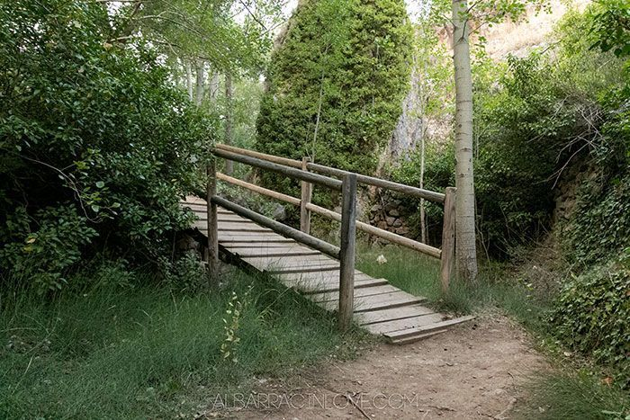 Imagen de un puente de madera en el Paseo Fluvial Río Guadalaviar