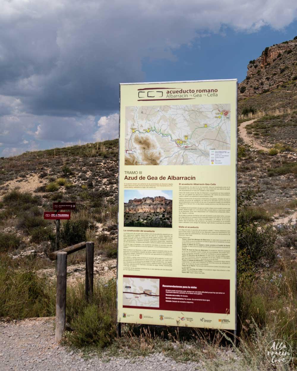 Fotografía de las mesas de interpretación del Acueducto Romano de Gea