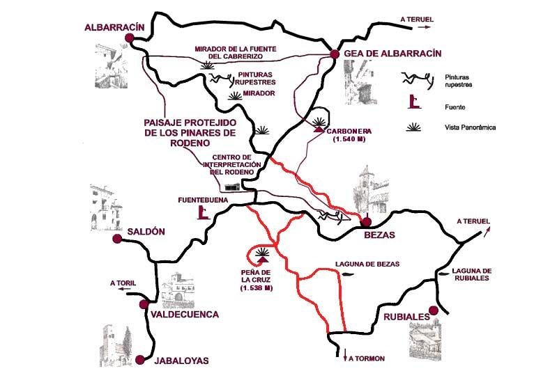 Fotografía del mapa de Ruta de pinturas rupestres en Albarracin