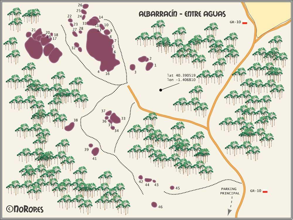 Fotografía del plano de los sectores boulder Albarracín: Entre Aguas