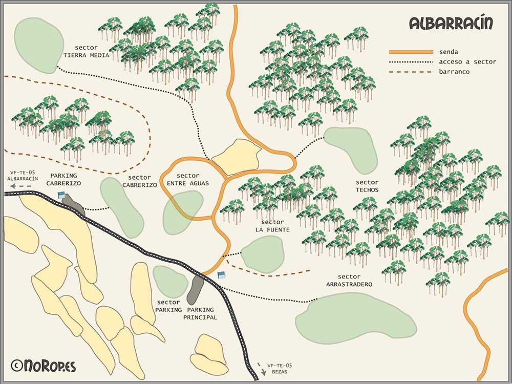 Fotografía del plano de los sectores boulder en Albarracin