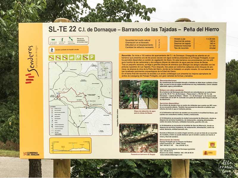 Fotografía del cartel de Sendero desde Dornaque a Peña del Hierro